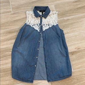Jessica Simpson denim and lace tank top